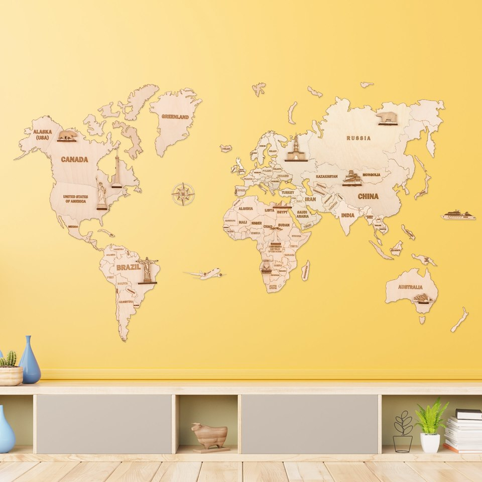 Woodtrick Wooden world map - Wooden 3D mechanical model. No glue or cutting required Construction set 1