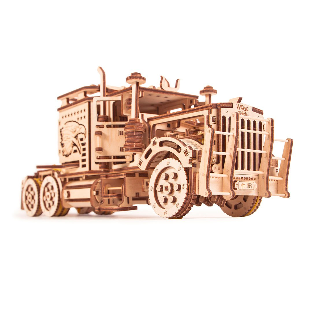 Big Rig 3D wooden mechanical model kit by WoodTrick.