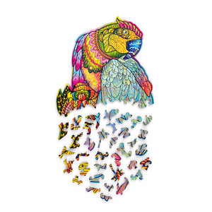 Bright Parrot - wooden colorful puzzle by WoodTrick.