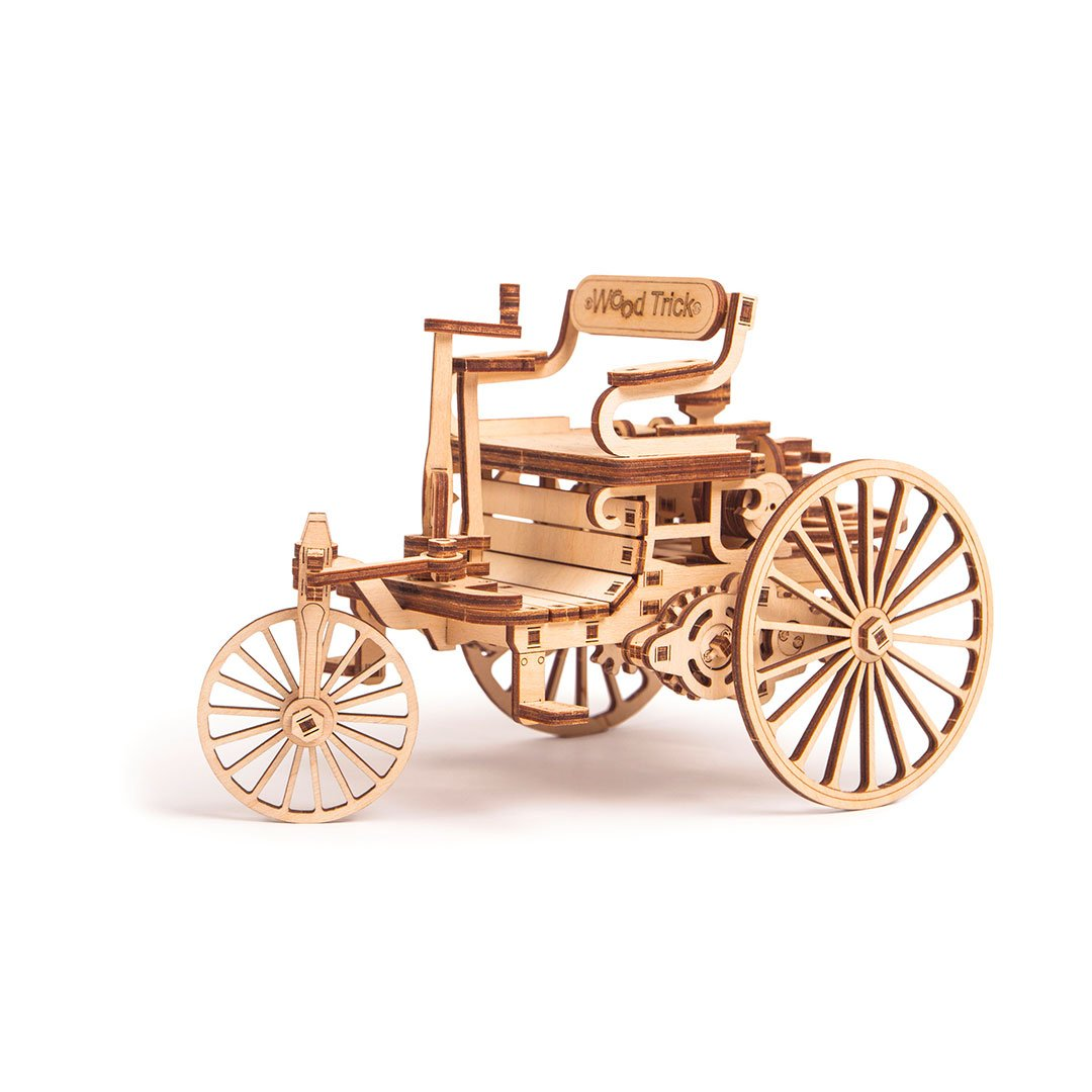 First Car 3D wooden mechanical model kit by WoodTrick.