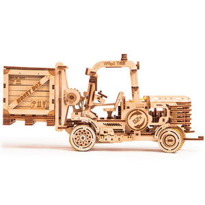 Forklift - 3D wooden mechanical model kit by WoodTrick.