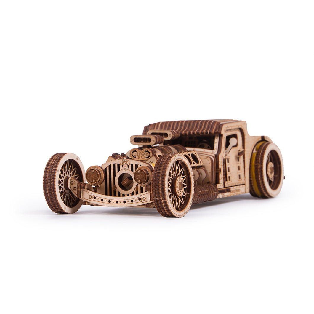 Hot-Rod - 3D wooden mechanical model kit by WoodTrick. WoodTrick wooden model kit. Wooden 3D mechanical model