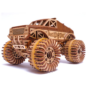 Monster Truck - 3D-wooden-mechanical-model-kit-by-WoodTrick