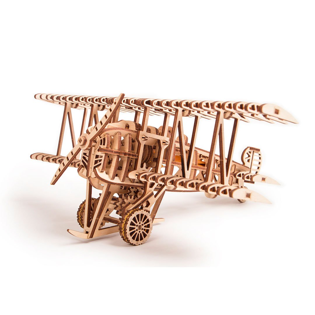 Plane 3D wooden mechanical model kit by WoodTrick.