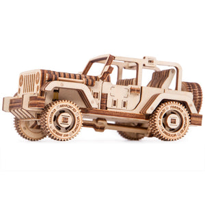 Safari Car - 3D wooden mechanical model kit by WoodTrick.