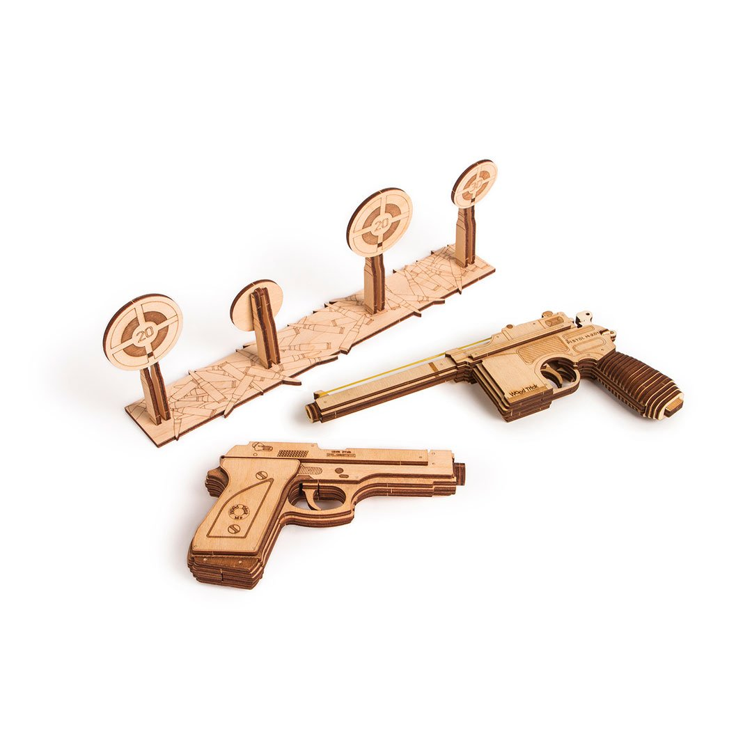 Set of Guns - 3D wooden mechanical model kit by WoodTrick.