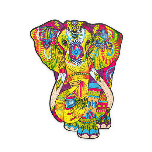 Splendid Elephant - wooden colorful puzzle by WoodTrick.