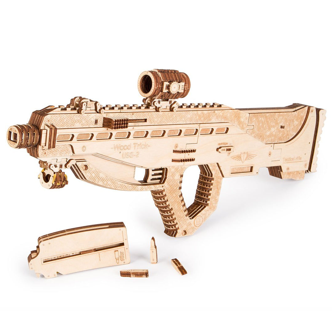 Tactical Rifle USG-2 - 3D wooden mechanical model kit by WoodTrick.