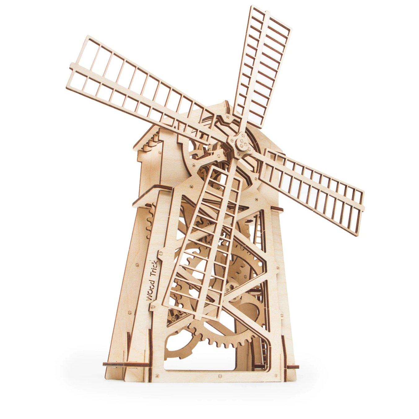 Windmill - Wooden 3D mechanical model. No glue or cutting required Construction set