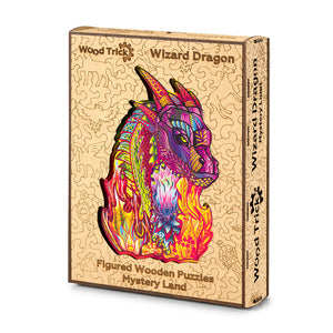 Wizard Dragon - wooden colorful puzzle by WoodTrick.