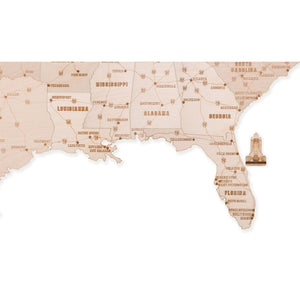 Wooden USA map - 3D wooden mechanical model kit by WoodTrick.
