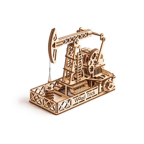 Oil Derrick 3D wooden mechanical model kit by WoodTrick.