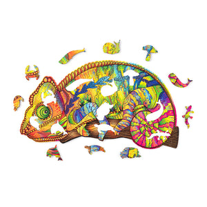 Сolorful Chameleon - wooden colorful puzzle by WoodTrick.