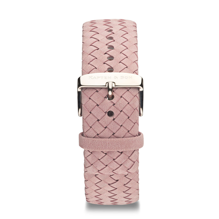 "Leather Strap ""Rose Woven Leather"" Campina Silver - Kapten & Son - Vietnam"