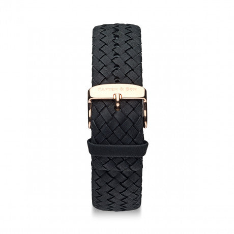 "Leather Strap ""Black Woven Leather"" Chrono Rose Gold - Kapten & Son - Vietnam"
