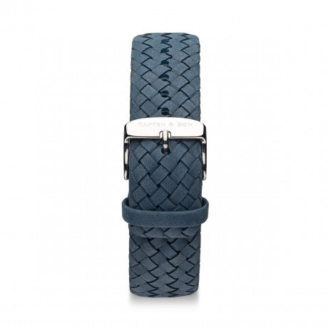 "Leather Strap ""Light Blue Woven Leather"" Chrono Silver - Kapten & Son - Vietnam"