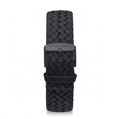 "Leather Strap ""Black Woven Leather"" Campina Midnight - Kapten & Son - Vietnam"