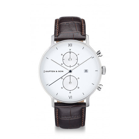 "Chrono Silver ""Dark Brown Croco Leather"" - Kapten & Son - Vietnam"
