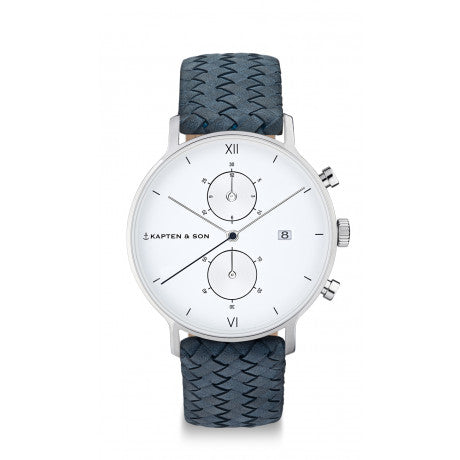 "Chrono Silver ""Light Blue Woven Leather"" - Kapten & Son - Vietnam"