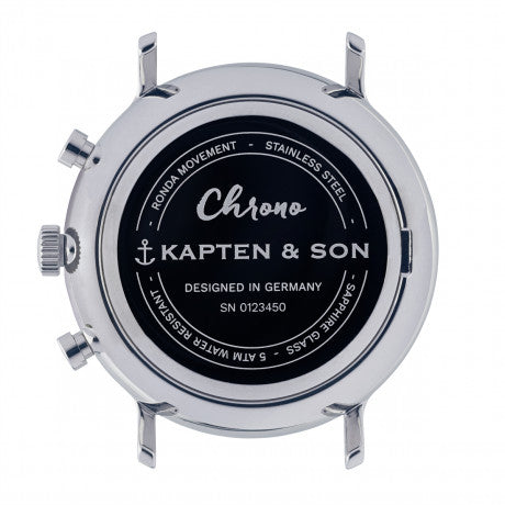 "Chrono Silver ""Blue Dark Brown Croco Leather"" - Kapten & Son - Vietnam"
