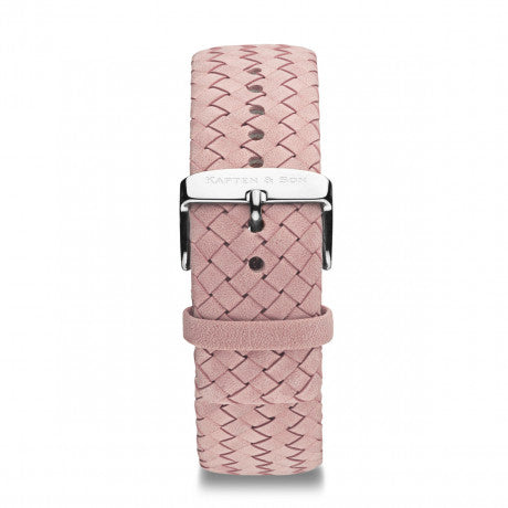 "Leather Strap ""Rose Woven Leather"" Campus Silver - Kapten & Son - Vietnam"