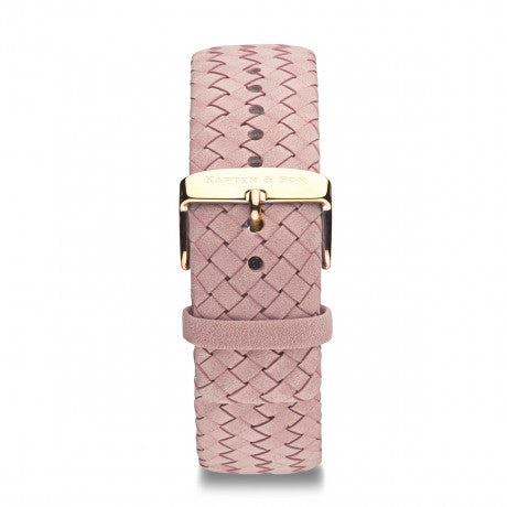 "Leather Strap ""Rose Woven Leather"" Campus Rose Gold - Kapten & Son - Vietnam"