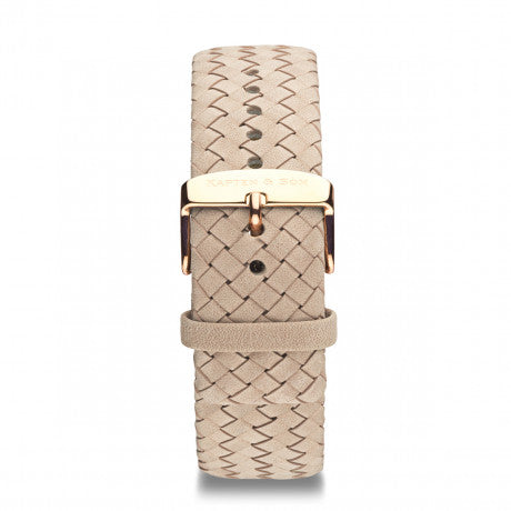 "Leather Strap ""Sand Woven Leather"" Campus Rose Gold - Kapten & Son - Vietnam"