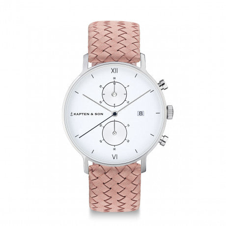 "Chrono Silver ""Rose Woven Leather"" - Kapten & Son - Vietnam"
