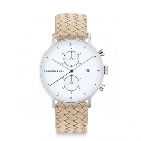"Chrono Silver ""Sand Woven Leather"" - Kapten & Son - Vietnam"