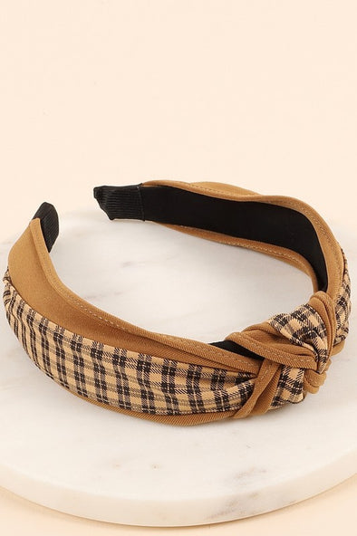 Plaid and Solid Knot Headband Camel