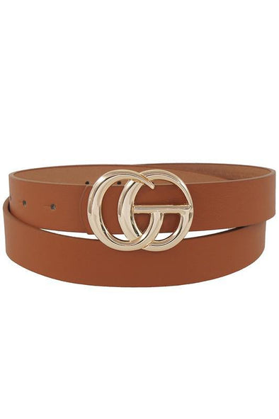 Thin GG Buckle Belt Tan