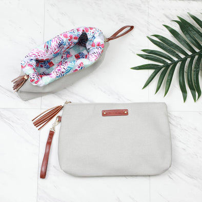 Large Canvas Pouch Grey