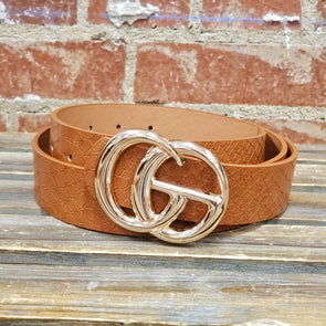 GG Buckle Belt Crocodile Brown