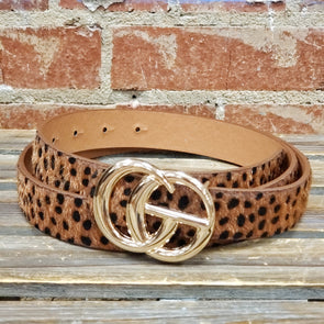 GG Buckle Belt Brown Leopard