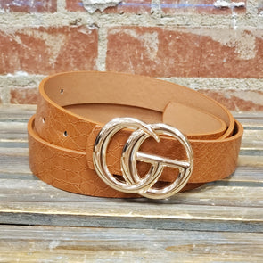 GG Buckle Belt Crocodile Brown Thin