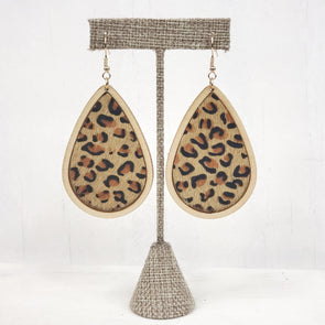 Wood ~Leopard Teardrop Earrings
