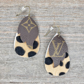 LV~Layered Earrings Tan Spotted Hide