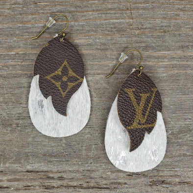 LV~ Layered Earrings Silver Shimmer