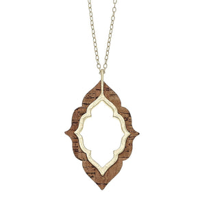 Cork Quatrefoil Pendant Necklace