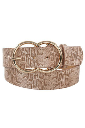 Large Double Circle Belt Taupe Snake