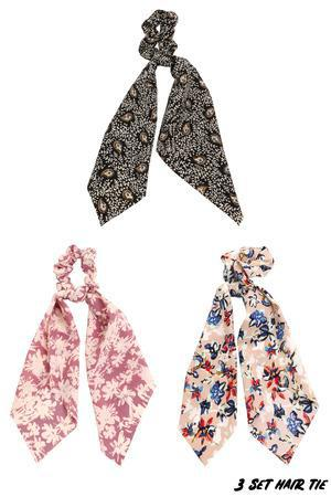 Long Tail Floral Hair Tie Set