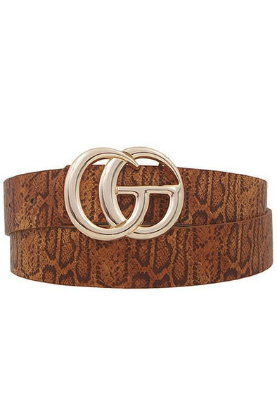 GG Buckle Belt Tan Snake