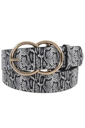 Large Double Circle Belt Black and White Snake