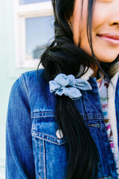 Denim Scrunchie with Removable Bow