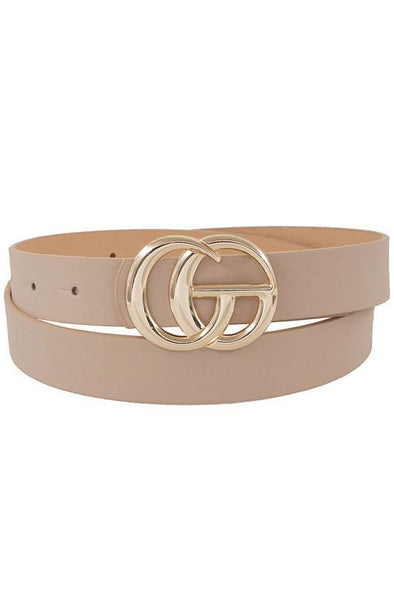 Thin GG Buckle Belt Beige