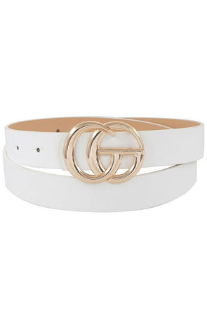 Thin GG Buckle Belt White