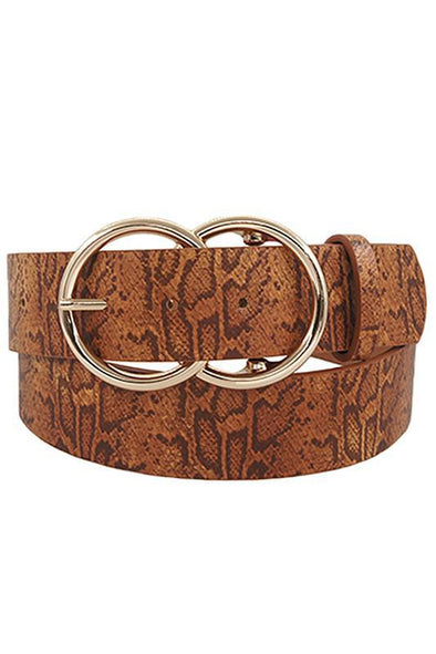 Large Double Circle Belt Tan Snake