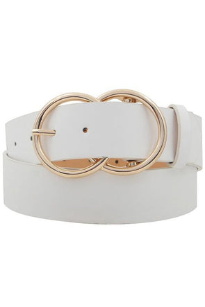 Large Double Circle Belt White