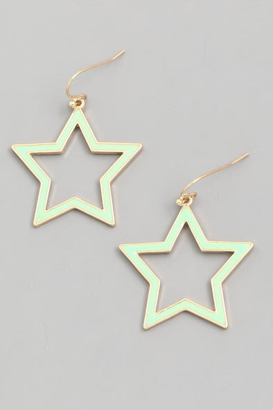 Star~ Drop Earrings Mint