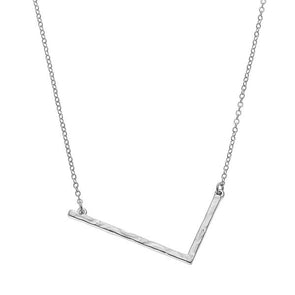 Hammered Large L Initial Necklace Silver